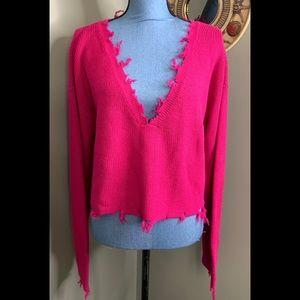 Lovers + Friends Sweater NWT Pink Frayed Raw Hem